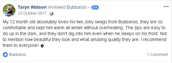 Facebook review of Platinum Joey Swag baby sleeping bag